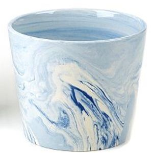 Blue & White Marbled Ceramic Planter